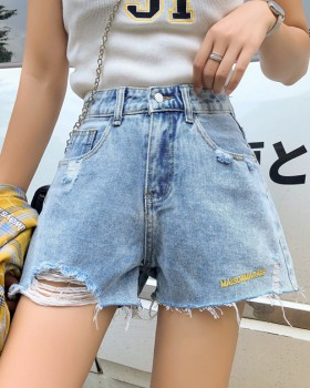 High waist short jeans shorts for women