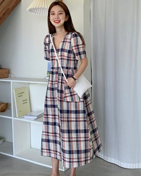 Large pockets Korean style plaid dress