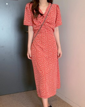 Korean style floral V-neck fold retro dress