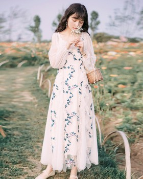 Sweet refreshing vacation puff sleeve seaside long dress