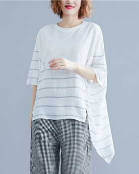 Irregular bat sleeve splice tops stripe Korean style T-shirt