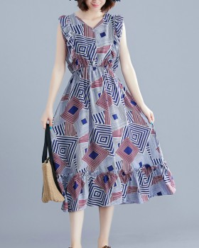 Vacation sleeveless dress pinched waist long dress
