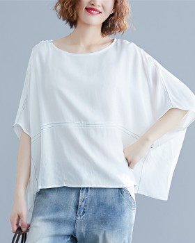 Summer loose bat sleeve tops pure round neck simple T-shirt