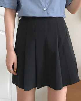 High waist pleated skirt college style pure short skirt