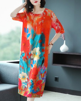 Loose printing real silk silk long summer dress for women