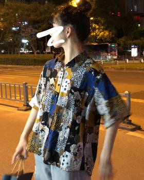 Printing loose summer short sleeve shirt