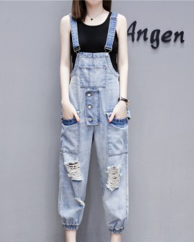 Slim denim jeans loose European style bib pants
