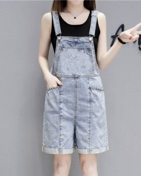 Summer loose slim jeans Korean style lovely strap shorts for women