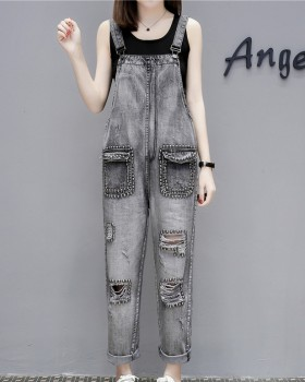 Holes European style nine pants loose bib pants for women