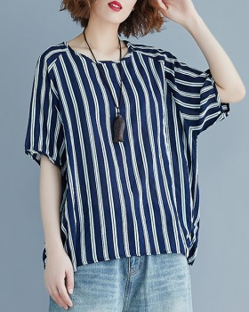 Short sleeve slim T-shirt fat vertical bars tops