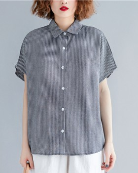 Stripe slim tops fat T-shirt