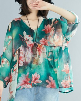 V-neck fat T-shirt slim chiffon shirt