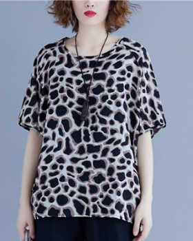 Casual slim short sleeve T-shirt leopard fat tops