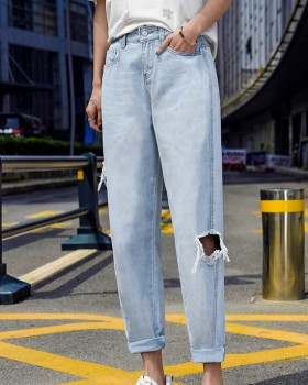 Holes straight beggar jeans loose wide leg pants for women
