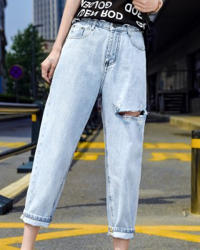 All-match holes harem pants high waist loose jeans for women