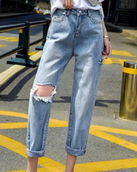 Loose straight jeans holes pants for women