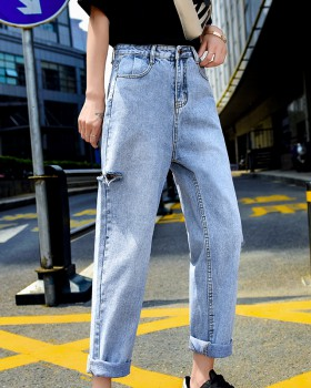 Loose slim straight pants beggar holes jeans for women