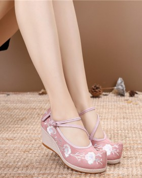All-match embroidered high slipsole shoes for women
