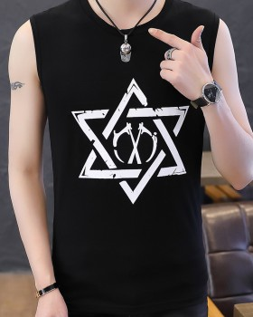 Fashion round neck tops printing pure cotton vest for men