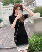 Korean style knitted slim gradient long summer dress