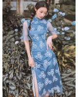 Embroidery high slit retro lace cheongsam
