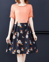 Short sleeve fashion long summer slim printing dress