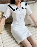 Doll retro maiden college style puff sleeve dress