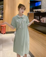 Bow Korean style dress short sleeve shirt for women