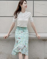 Printing hollow short sleeve short skirt lace splice shirts a set
