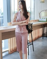 Drawstring lapel cropped pants high waist pocket tops a set