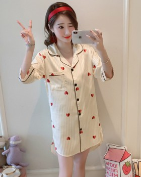 Sweet at home night dress lapel heart cardigan