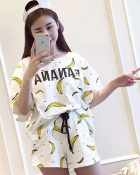 Short sleeve sweet milk silk pajamas a set for women
