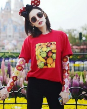 Summer bottoming tops Korean style printing T-shirt for women
