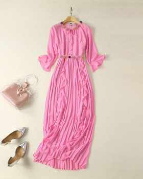 Vacation bow tender long dress stereoscopic crimp dress