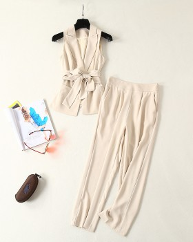 Spring and summer light business suit frenum long pants a set