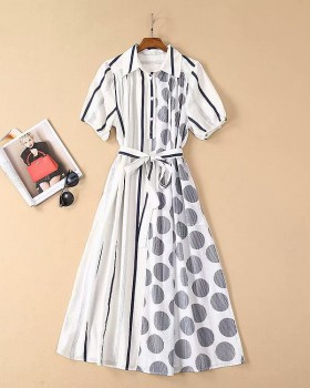 Lapel cotton linen spring and summer loose long dress