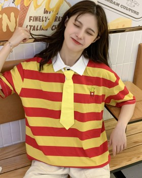 Summer round neck short sleeve shirts stripe embroidery tops