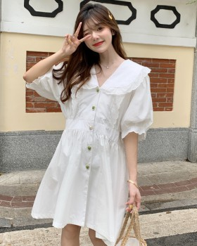 Buckle slim heart dress loose France style summer shirt