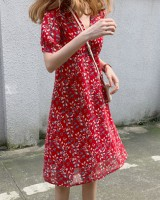 Floral sweet summer V-neck slim dress