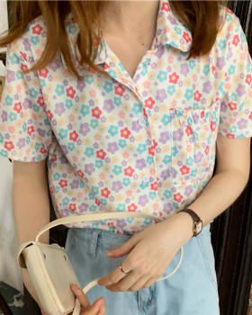 Sweet rainbow short sleeve single-breasted floral shirt