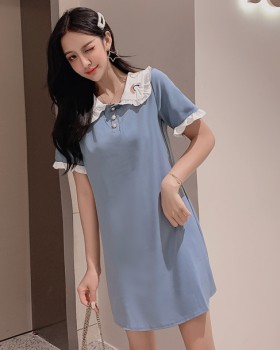 Loose embroidery chiffon blue refreshing summer dress