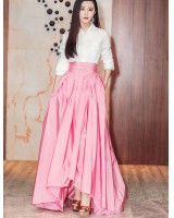 High waist pink shirt autumn long skirt a set for women