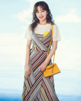 Fashion white cross shirts long stripe T-shirt a set