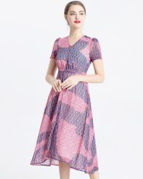 Slim printing long dress