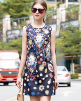 Temperament sleeveless blue summer elegant dress for women