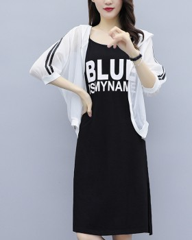 Large yard slim fat loose enlarge fashion sun shirt 2pcs set