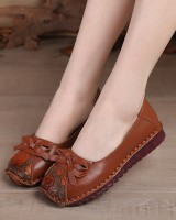 Low national style bow spring round shoes