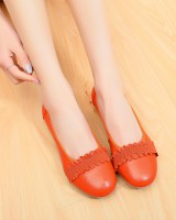 Middle-aged low cozy flat genuine leather shoes for women