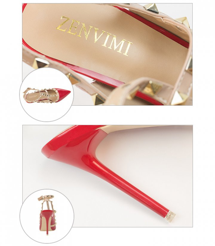 Patent leather sandals high-heeled shoes for women