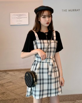 Pseudo-two summer dress plaid slim strap dress